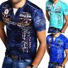 Herren V-Neck T-Shirt Slim Fit Poloshirt Kurzarm Schwarz/Weiß/Blau NEU - 20849