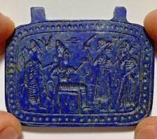 MUSEUM QUALITY ANCIENT SASSANIAN LAPIS LAZULI TABLET - WARRIORS CA 500AD 60mm
