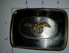 VTG Western Nickel Silver & Brass WILD RUNNING HORSE, MUSTANG, COLT BELT BUCKLE
