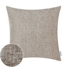 """2Pcs Taupe Cushion Covers Pillow Shells Solid Dyed Soft Chenille Sofa Car 22x22"""""""