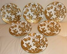 6 Antique Tiffany & Co Brownfield's Exquisite Raised Gold Encrusted Plates