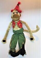 Vintage-Rare-18� Mark Roberts Collection Jester Wizard Plush Costume Monkey