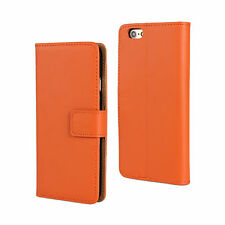 For iPhone 6 Plus/6s Plus Orange Genuine Leather Cash Card Wallet Case Cover