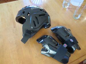 ProForce black head gear guard helmet karate sparring + hand gloves set SZ XXL