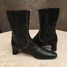 Cole Haan Women's Boots Size 8.5AA Black Leather Mid Calf Fashion Zip EUC