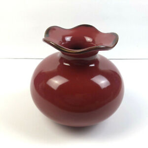 Southern Living Flower Vase Red Cinnabar Portugal Stoneware Scalloped Edge