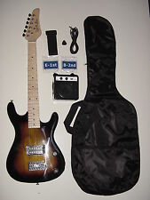 "KIDS 3/4 Scale 36"" Sunburst Electric guitar with Battery Powered Amp  Gig Bag"