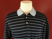 Pronto Uomo Sport Blue Striped Pima Cotton Blend Golf Polo Shirt Mens XL