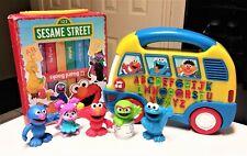 Fisher Price Sesame Street Alphabet School Bus, Books & Figures Lot