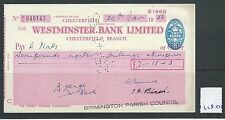 wbc. - CHEQUE - CH1280- USED -1956- WESTMINSTER BANK, CHESTERFIELD