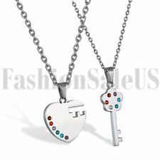 New Stainless Steel His and Hers Lovers Matching Heart Key Pendant Necklace 2pcs
