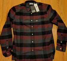 Mens Lacoste Plaid Button Up Woven Shirt Maroon/Graphite/Black 42 Large $125
