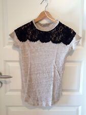 ZARA T Shirt 34 XS Spitze beige meliert schwarz Leinen creme braun SUPER Blogger