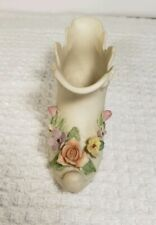 Vintage Antique Ivory By Lefton Kw 651 Porcelain Shoe Floral Flowers