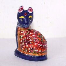 Antique Style Hand Painted Enamel Coated Solid Metal Cat Figurine #267