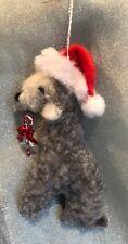 BEDLINGTON TERRIER SANTA HAT dog CHRISTMAS decoration. Part NEEDLE FELTED