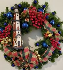 "Christmas Holiday Wreath  22"" Decoration Wooden Light House Red Blue Gold Balls"