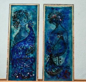 Mid Century Modern Pair Enamel on Copper Abstract Wall Art Plaques Peacock