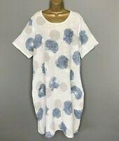 BALLOON DRESS WHITE BLUE Italian Pockets Lagenlook Womens UK Size 18 20 22 24