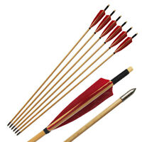 6Pcs Turkeys Feather Vintage Wooden Shaft Arrows For Longbow Recurvebow Archery