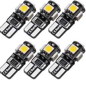 6X T10 Led Canbus Error Free 5 SMD Car Side Wedge light Bulb White 168 194 W5W