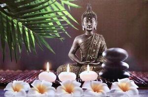 """Buddha Nature LED Light Up Canvas Print Painting Wall Art 24x16"""" Zenda Imports"""