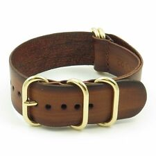 StrapsCo Vintage Leather Watch Band Strap in Brown w/ PVD Yellow Gold Rings