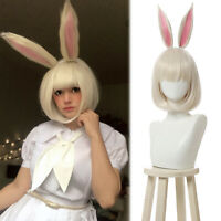 Beastars Haru White Cosplay Wig Short Straight Bobo Hair With Bunny Rabbit Ears