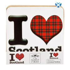 I LOVE SCOTLAND Coasters Set of 4 TARTAN - Cork Back Quality Souvenir Gift 10cm