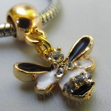 Bumble Bee Gold Plated Large Hole Charm Bead For European Charm Bracelets