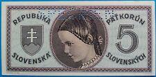 Slovakia ; 5 korun 1945, P-8s, specimen, UNC-