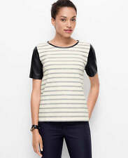 NEW! $59 Ann Taylor  FAUX LEATHER SLEEVED STRIPED TOP Sz S Silver Frost Heather