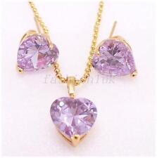 Women New 18K Yellow Gold Plated Purple Cubic CZ Love Stud Earrings Necklace Set