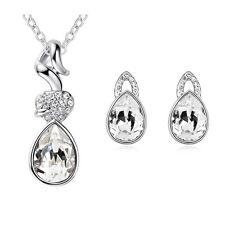 Bridal Jewellery Set White Crystal Teardrop Studs Earrings & Necklace S346