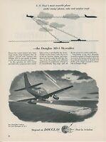1953 Douglas AD-5 Airplane Ad US Navy Skyraider Attacking Enemy Sub USN