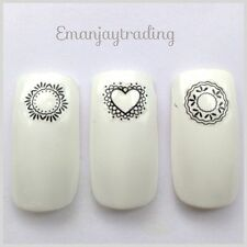 Nail Art Stickers/Decals Black Lace Hearts, Circles, Hexagons #66