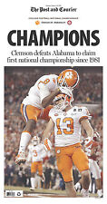 Clemson TIGERS 2016 Champions Football Post and Courier Full NEWSPAPER SC