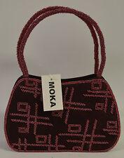 Moka Burgundy Beaded Handbag Evening Bag - Brand New with Tag