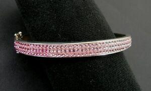 Pink Stones Variegated Enamel Sterling 925 Silver Hinged Oval Bangle Bracelet
