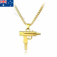 UZI Machine Gun Pendant Necklace Jewelry Chain Gold Hip Hop RAP Bling AUSTRALIA