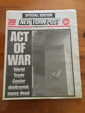NY POST Sept 12th 2001 Unread condition. Purchased at news stand next day in NYC
