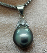 Classic Tahitian Black Pearl Drop Necklace With Diamonds on Bale