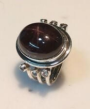925 STERLING SOLID SILVER 8 gm  RING SIZE 7 NATURAL STAR GARNET 12X17 MM OVAL
