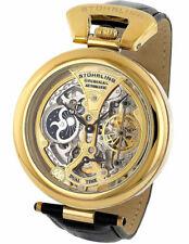 Stuhrling 127A Emperor Grandeur Automatic Dual Time Goldtone Skeleton Mens Watch