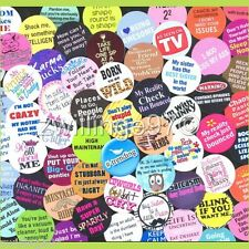 100 Precut assorted FUNNY PHRASES SAYINGS Fun Geeks BOTTLE CAP IMAGES Variety
