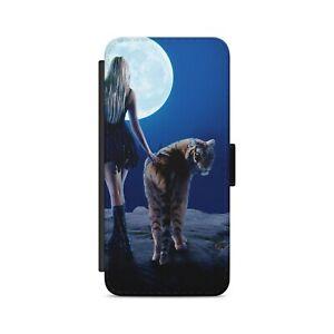 Tiger Moon Girl Night Flip Wallet Phone Case