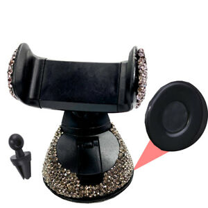 Gray Rhinestone Phone Holder Clip W/Suction Cup Fit Window Air Vent Euro Vehicle