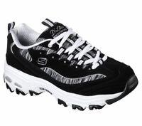 Skechers Dlites Black White Shoes Women's Sport Casual Memory Foam Comfort 11978