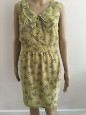 ASOS DARLING LADIES LYLA BOW PRINT SHIFT DRESS IN MUSTARD SIZE LARGE/ UK 14/EU42