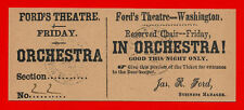 Ford's Theatre Lincoln Assassination Ticket Reprint On 100 Year Old Paper *9045